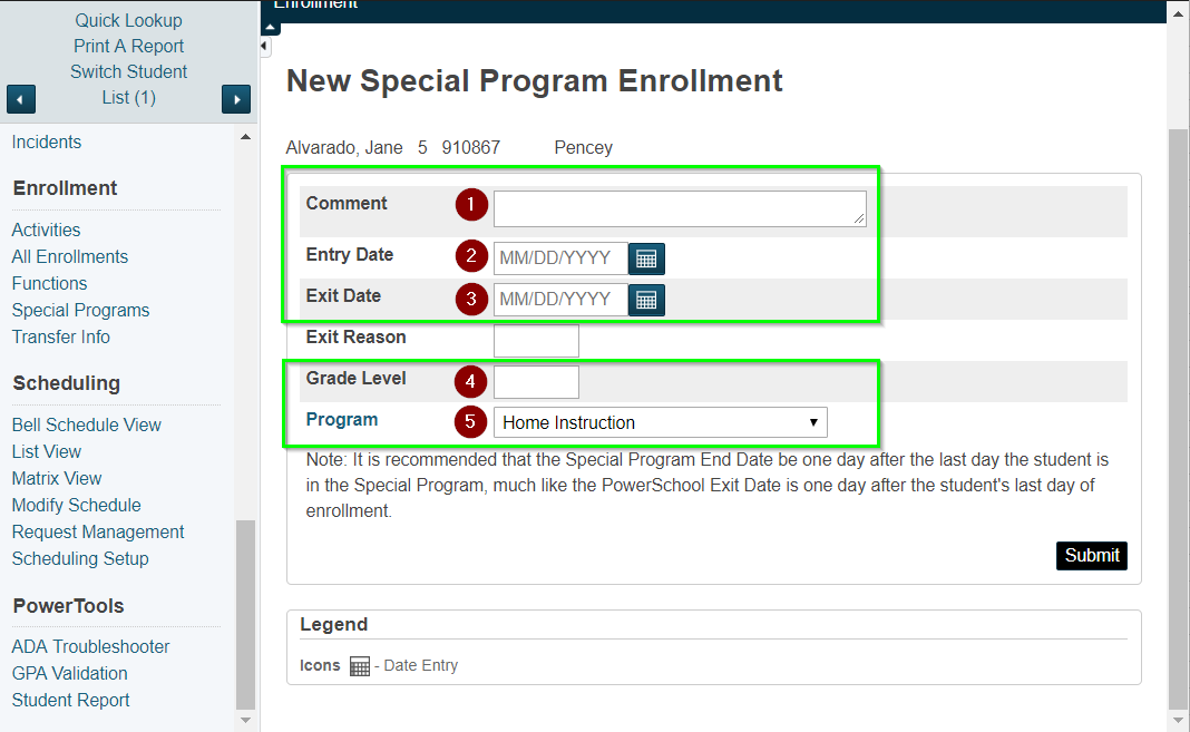 Powerschool Admin Enroll Disenroll Students In Home Instruction
